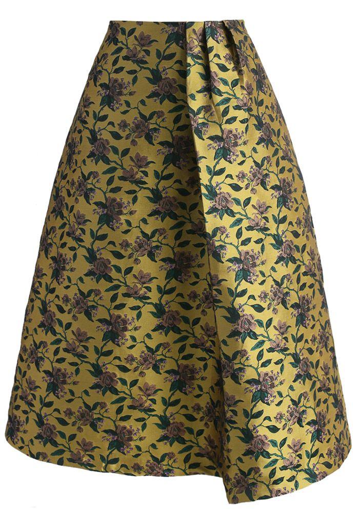 Retro Glam Floral Jacquard Midi Skirt - New Arrivals - Retro, Indie and Unique Fashion