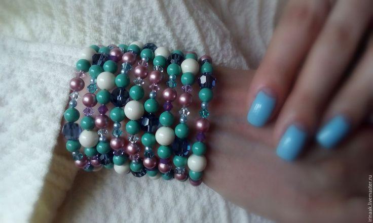 Купить Браслет 013016 - комбинированный, браслет, жемчужный браслет, бирюзовый браслет, айвори