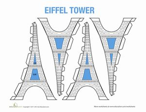 Middle School Paper Projects Worksheets: Eiffel Tower Model