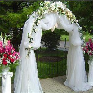 "Decorative Metal Wedding Arch - White - 55""Wx90""H   efavormart"