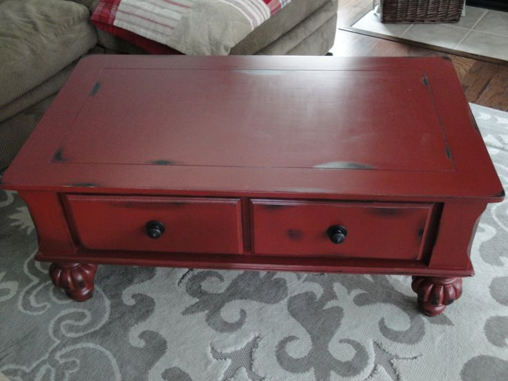 hello love <3 distressed barn red coffee table