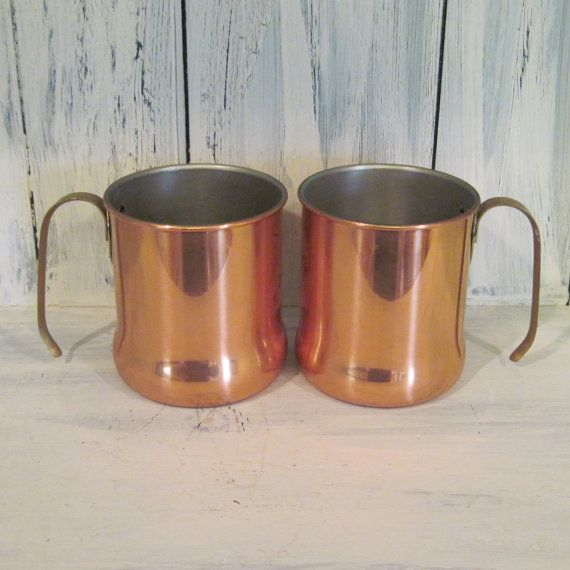 Vintage copper mug set of two, Made in USA, his and hers copper mug set, coffee cup copper mug, solid copper mugs set, copper beer mug set by HTArtcraftAndVintage, $27.75