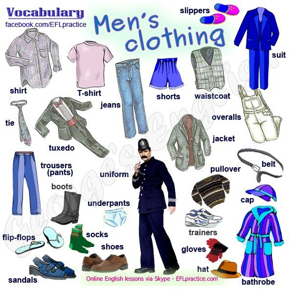 Men's Clothing #Aprender #inglés #vocabulario