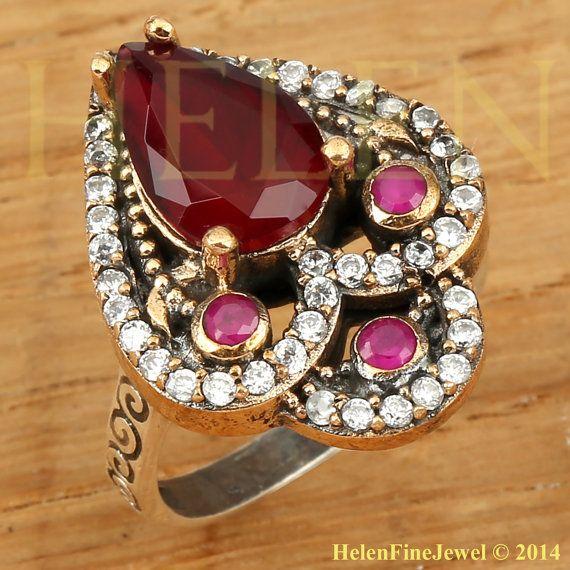 Hurrem Sultan Ring Tear Drop Shape Ruby Color by helenfinejewels