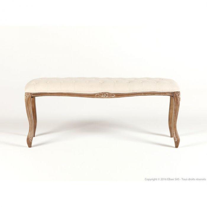 Bout De Lit En Bois Et Coton L114cm Blanc Marthe Dining Bench Home Decor Furniture