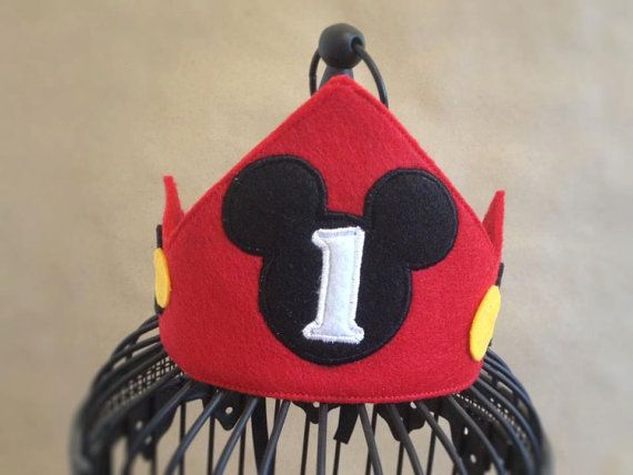 Mickey Mouse birthday crown WITH NUMBER & by MyHeartnSoulBoutique, $20.00