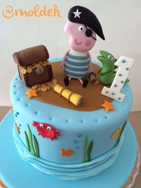 Pastel de George Pig pirata para primer Cumple // George Pig pirate first Birthday cake