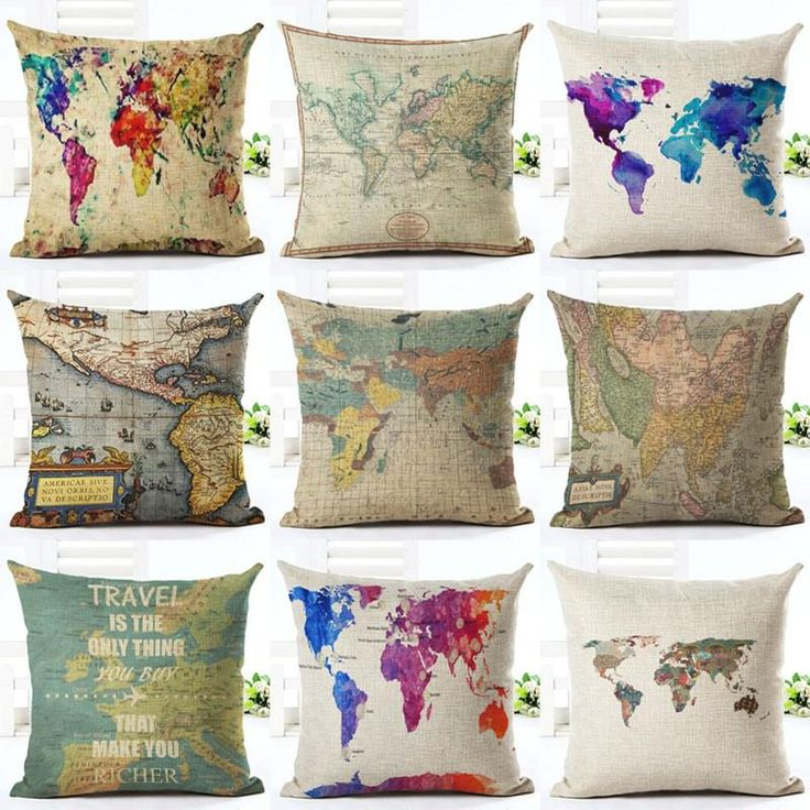 Vintage Style World Map Cushion Cover Pattern Cotton Linen Pillow Cover Home Decor