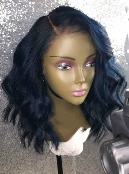 Cute side part wavy bob with bangs wigs for black women lace front wigs  human hair wigs hairstyles 50a667960f
