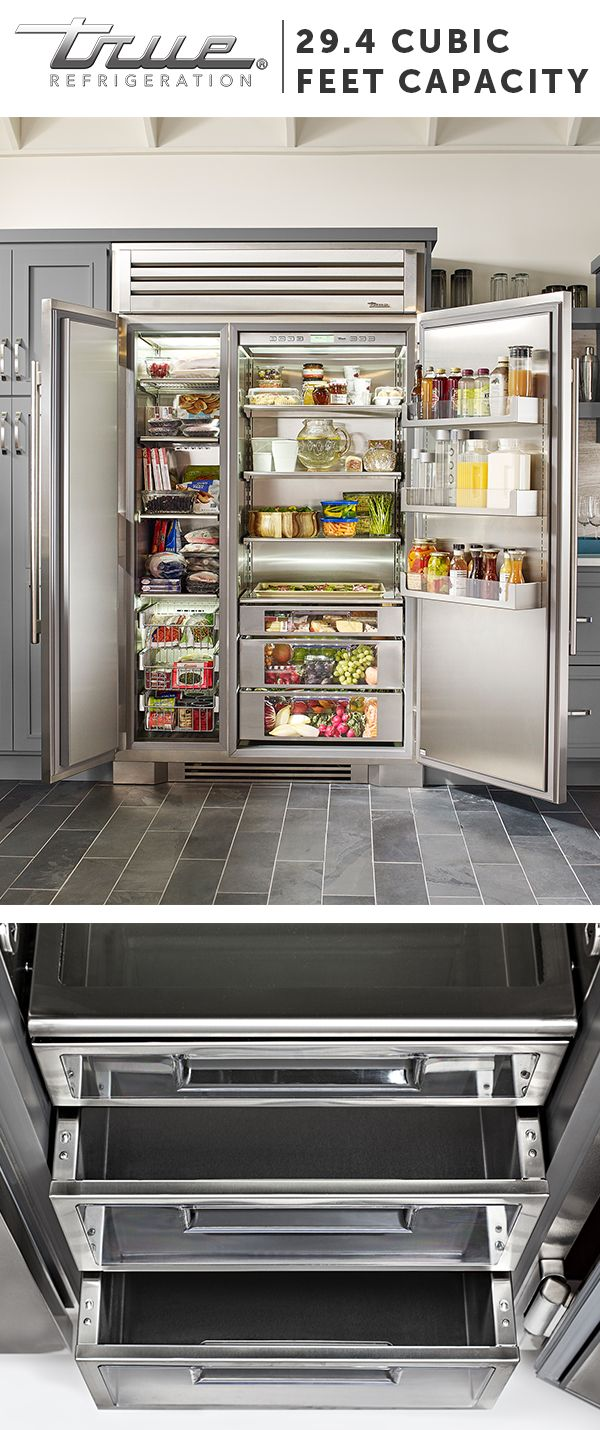 """Our 48"""" side-by-side is more than 29.4 cubic feet of stylish, stainless steel refrigeration. This full-sized refrigerator gives high-end residential kitchens the look, work space, and performance of the best professional kitchens around the world."""