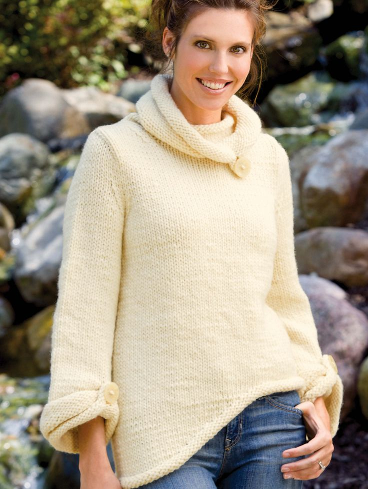 Free Knitting Pattern Cowl Neck Jumper: Best sweater knitting ...