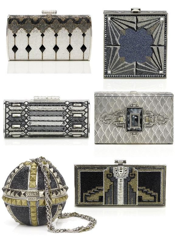 Gorgeous bags by Judith Leiber (I think they have a very art-deco aesthetic, and I love it!) http://judithleiberfinejewelry.com/section.cfm?name=Crystal