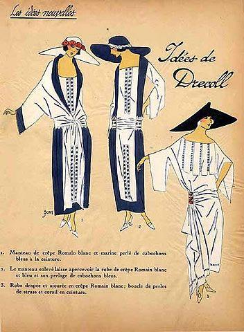 1923 Drecoll '' Les Idées Nouvelles de la Mode '' Pochoir Art Deco '' Tres Parisien ''
