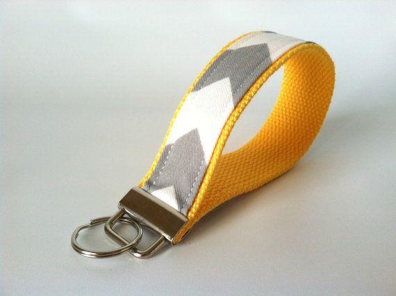 Trendy & oh-so-handy! Never lose track of your keys again! Yellow Grey Chevron Key Fob  Chevron Wristlet by mizzeztee on Etsy, $7.50