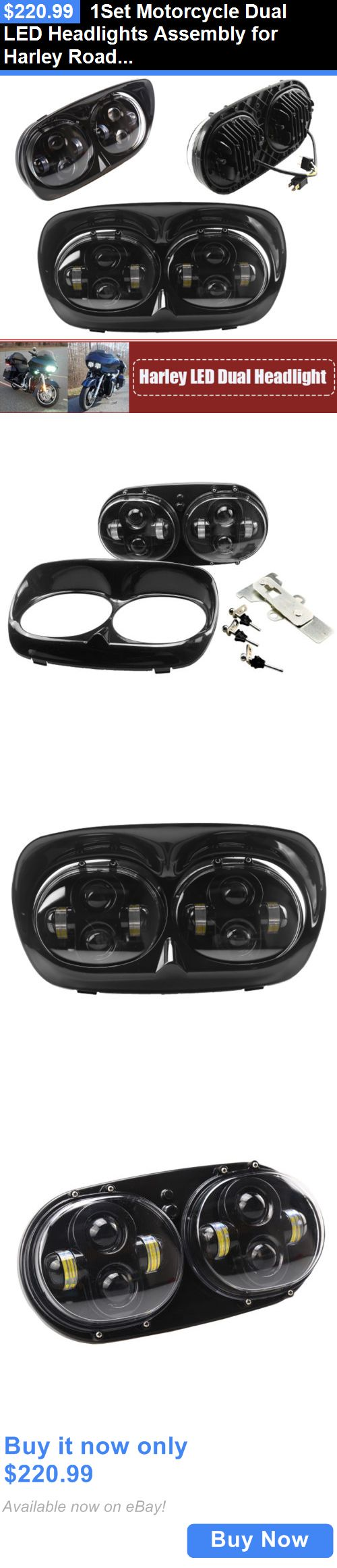 1set led headlights Road glide dual LED Headlight motorcycle accessories High/Low Double Headlight For Harley Road Glide
