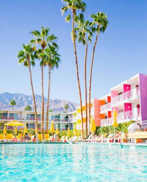 The Saguaro sunny, colorful hotel in Palm Springs, California