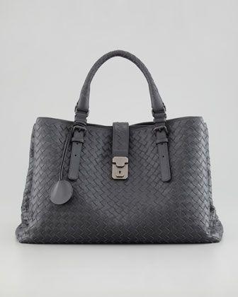 Roma Medium Woven Compartment Tote Bag, Charcoal by Bottega Veneta at Neiman Marcus.
