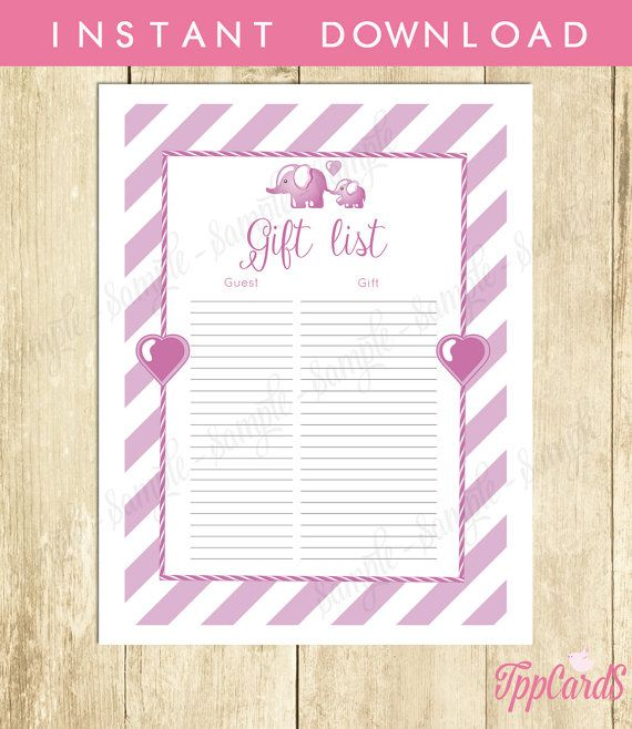 Instant Download Lilac Elephant Baby Shower for Girl Baby Shower Gift List Tracker Gift Registry Tracking Sheet Elephant Checklist by TppCardS #tppcards
