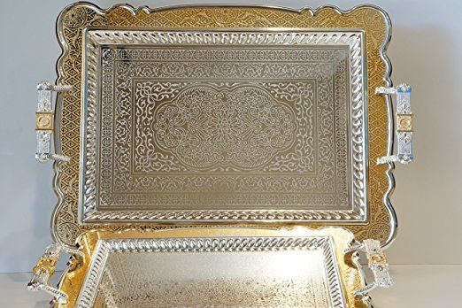 Home N Kitchenware Collection (2 Piece Set) Silver & Gold Plated Decorative Food/Coffee Serving Tray; Rectangular Shape Charger Plate; Mediterranean Design