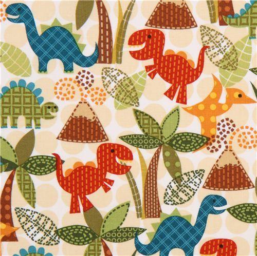dinosaur fabric for boys Michael Miller beige dots 1