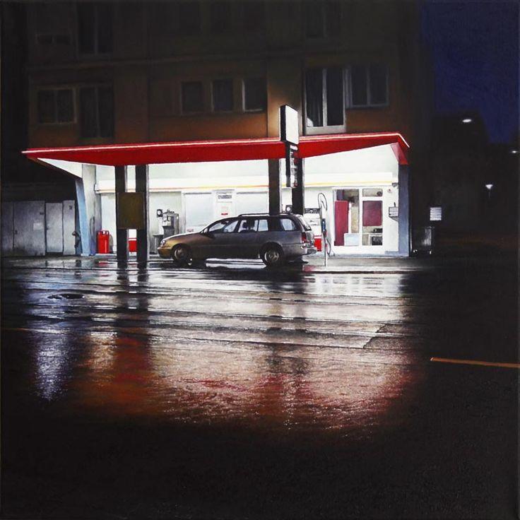 christoph eberle, hyperrealism, switzerland, gas station