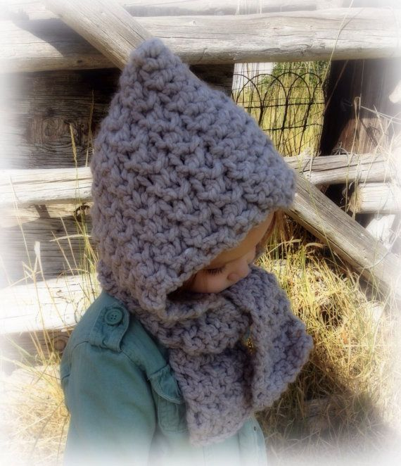 Keep your little ones head nice and warm this winter in this adorable hooded scarf:) Made in a super soft cozy acrylic/wool blend thats sure