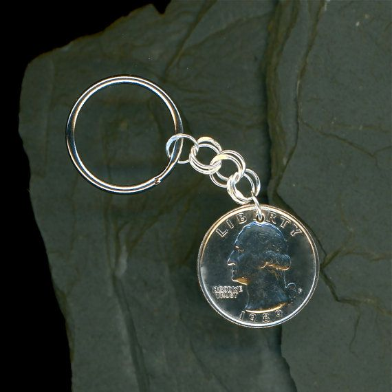 1989 Quarter Keychain 25th Anniversary 25th Birthday Gift Coin 1989 Sterling Silver Chain