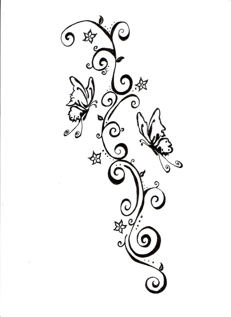butterflies and swirls tattoo design by tats pinterest vine. Black Bedroom Furniture Sets. Home Design Ideas