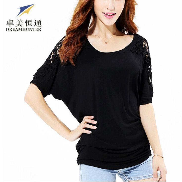 5XL T Shirts Women's Plus Size Cotton Lace Patchwork Floral Tops Batwing Sleeve Summer 2016 Tee Shirt Femme #Affiliate