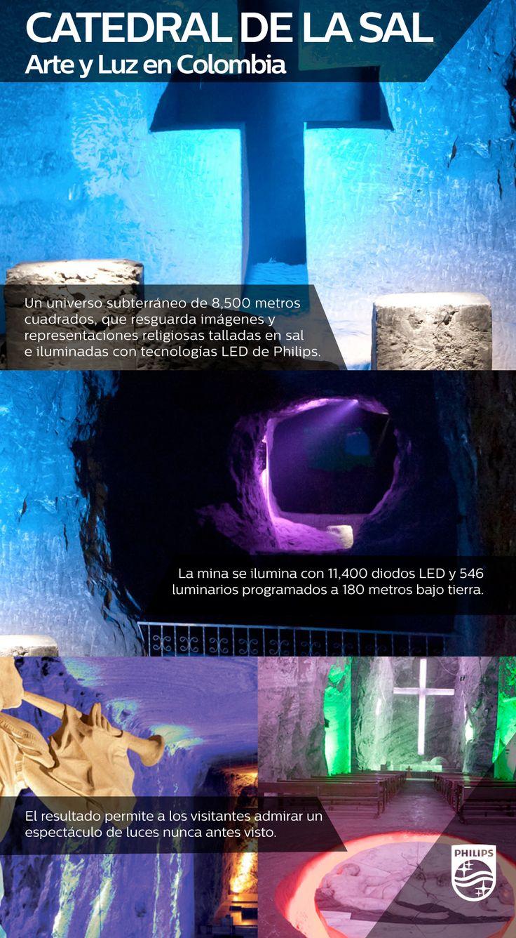 Una mina escondida en el interior de una montaña resguarda una de las grandes maravillas de Zipaquirá, Colombia. Se trata de la catedral de la sal, que resguarda estatuas y representaciones religiosas que resaltan con la tecnología de iluminación de Philips.