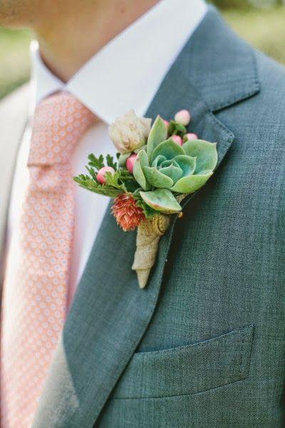 Des succulentes de mariage: boutonnières