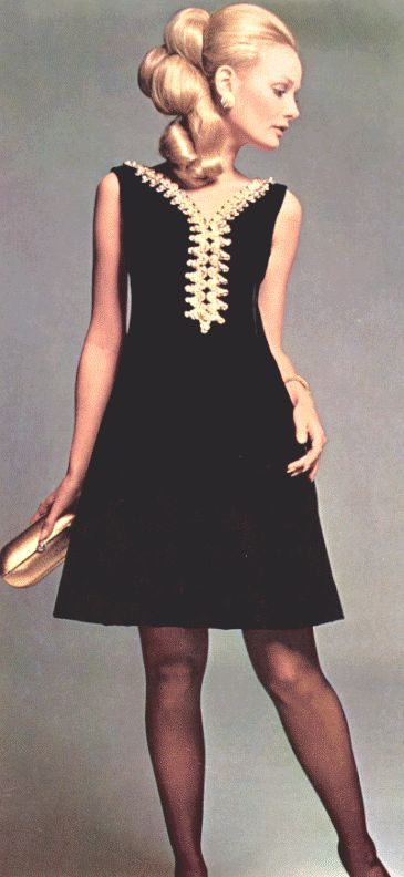 Simplicity of dress with beading or accents. Fashion - 1969