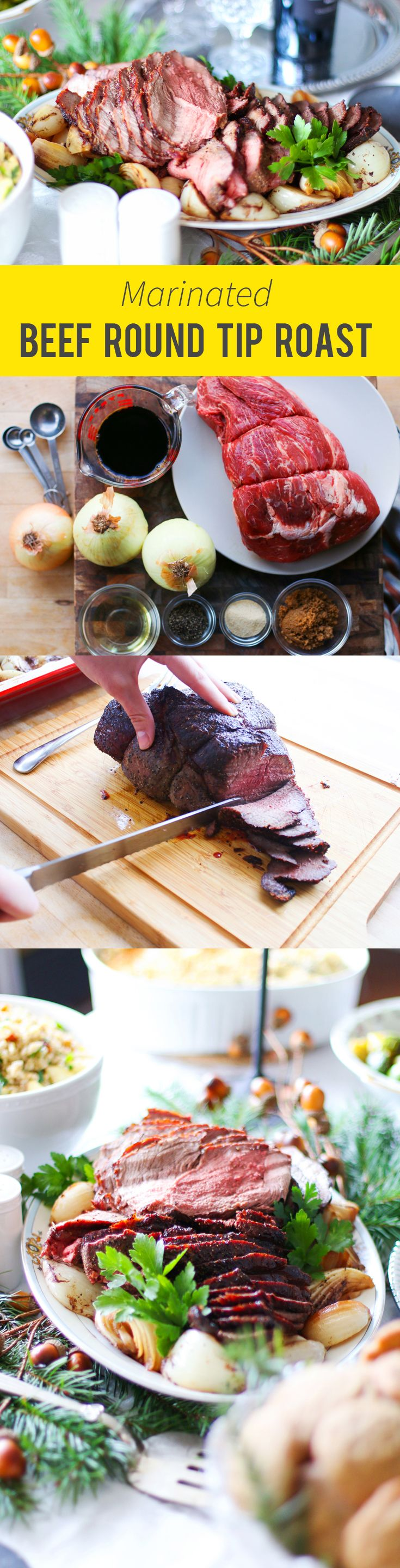 An easy roast the Holidays or any celebration. Marinated beef round tip roast.