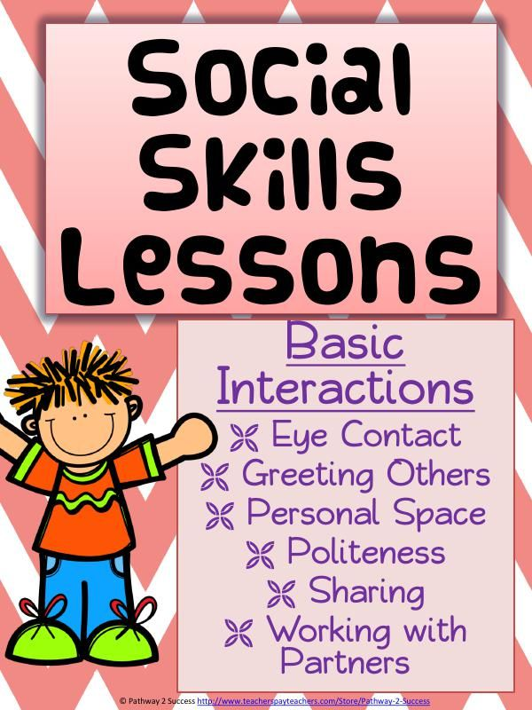 Social Skills Lessons that teach basic interactions including eye contact, personal space, greeting others, being polite, sharing, and working with others.
