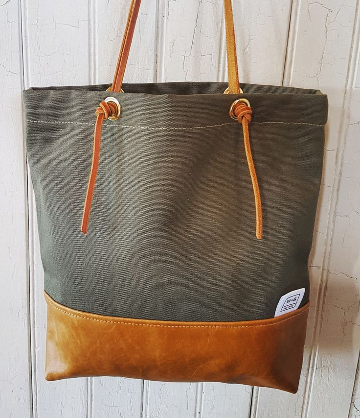 Canvas and Leather Tote - Olive and Tan - W & B