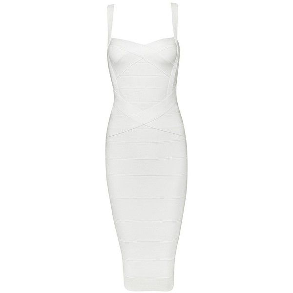 Honey couture leonie white midi bandage dress ($169) ❤ liked on Polyvore featuring dresses, sexy white dresses, white bandage dress, sexy cocktail dresses, evening dresses and white evening dresses