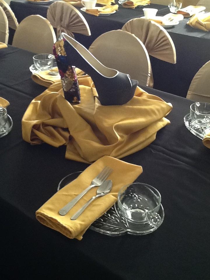 Gold Shoe Centerpiece : Best images about shoe purse party on pinterest