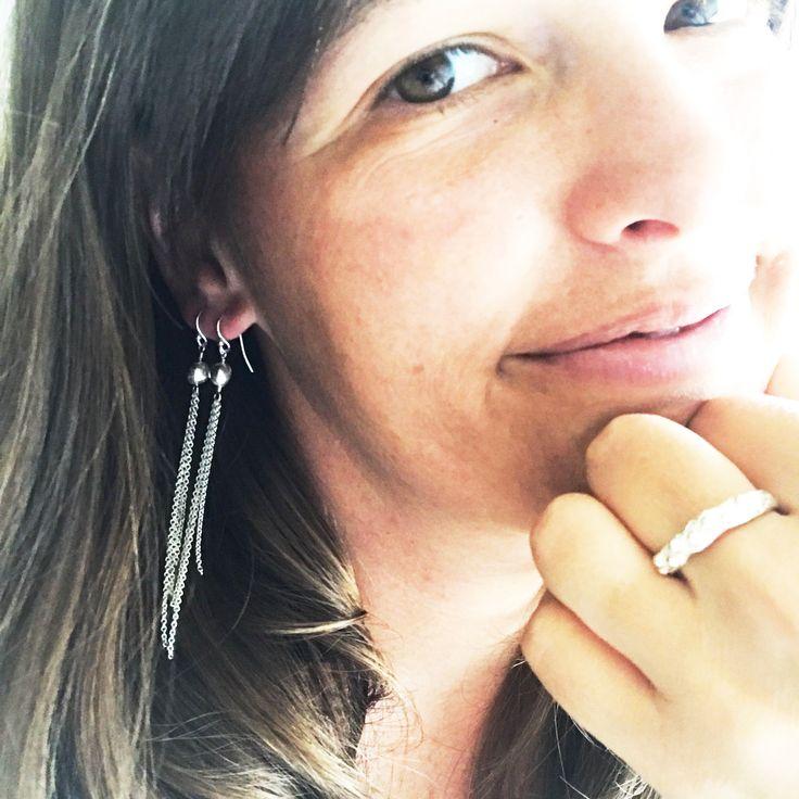 Slinky Silver Dangle Earrings by Luminous Design Store on Etsy  $55  #sterlingsilverearrings #dangleearrings #chainearrings