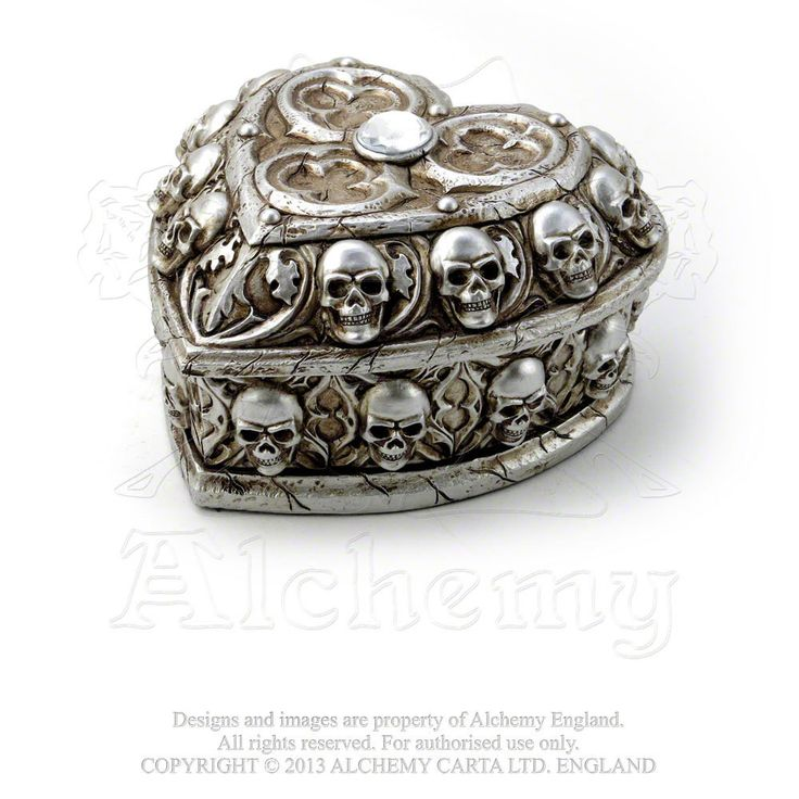 Alchemy Gothic The Vault Paladin's Tithe Heart Shaped Box w/ Skulls Final resting place for the keepsakes of the tragic, but inevitable interlude between Birth and Death. Approximate Dimensions: This