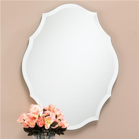 "Beveled Shield Shaped Frameless Mirror  A beveled frameless mirror with elegantly scallop edges that create a shield shaped silhouette. This classic bathroom mirror will fit with any hardware finish and decor style. (30.5""Hx23.5""W)  - $299.00"