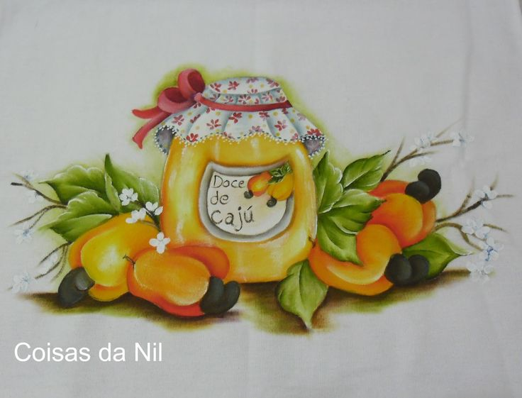 Coisas da Nil - Pintura em tecido: Doce de caju..