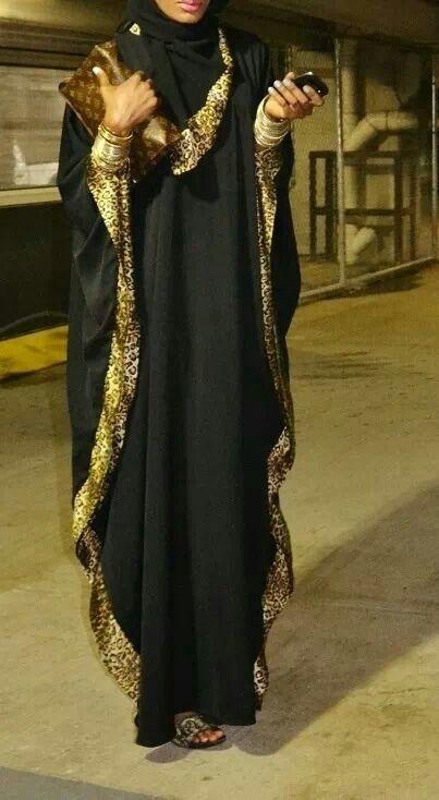 Leopard trimmed abaya