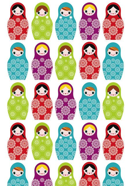 Russian dolls wrapping paper