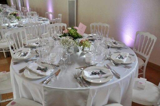 Deco de table mariage chic et champ tre th me rose et gris - Deco de table chic ...