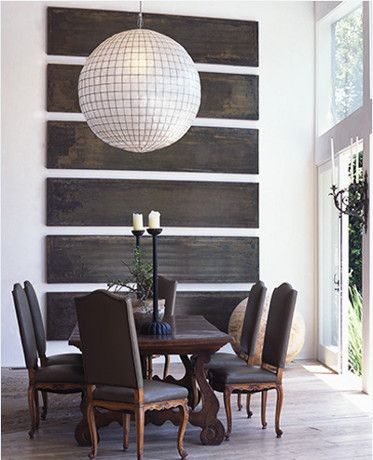 Love the round light fixture + Wood panels as art (Source: Lisa Romerein Photography) - Rounds in Rooms