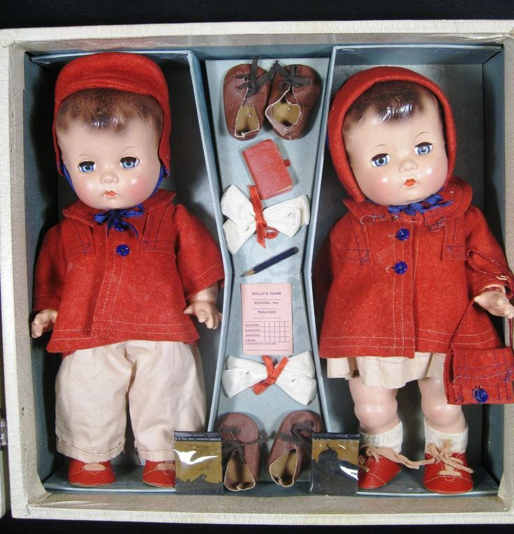 Rare! Boxed Set  Vintage Effanbee Composition Candy Kid Twin Dolls