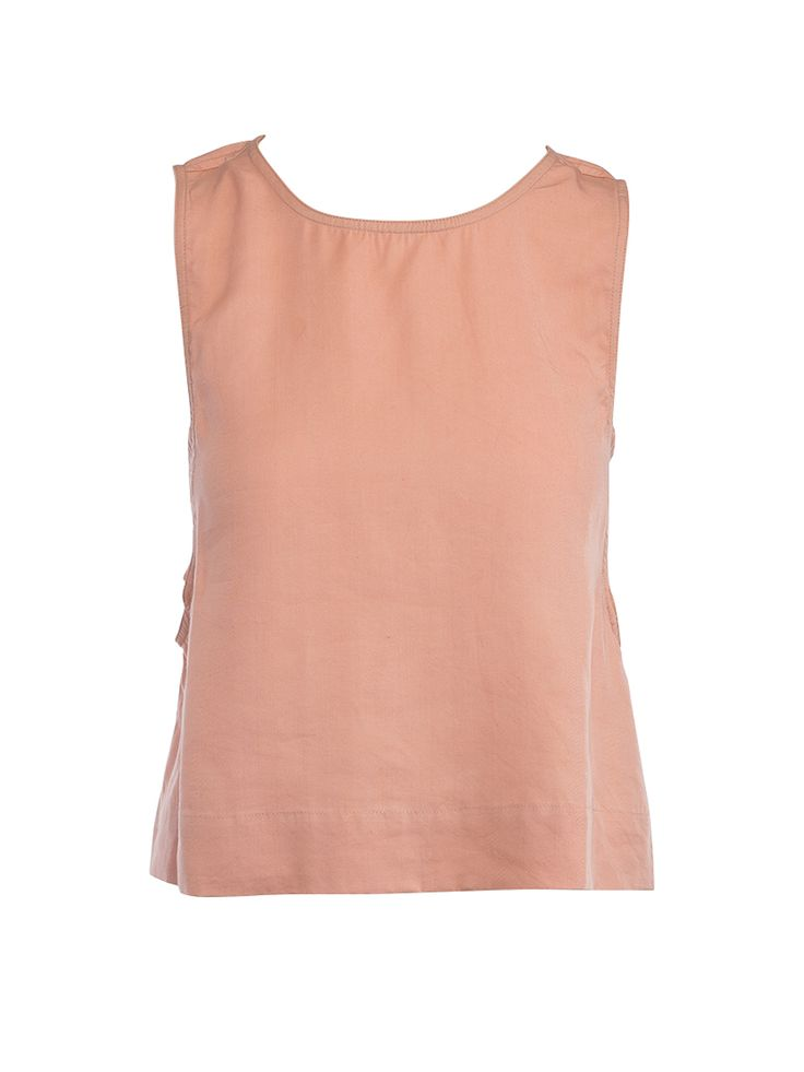 Chic Tencel Sleeveless Top in Peach