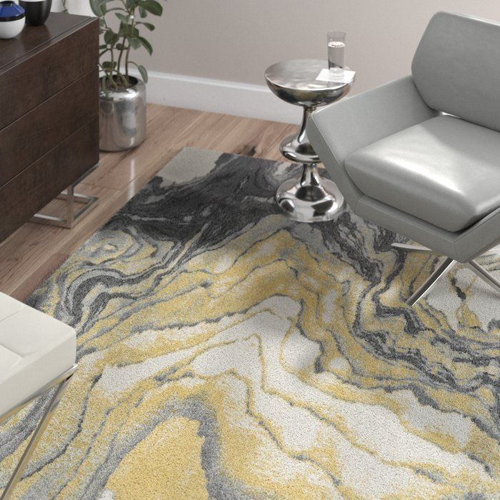 Ahaan Cotton White Gray Sunny Yellow Area Rug Yellow Area Rugs
