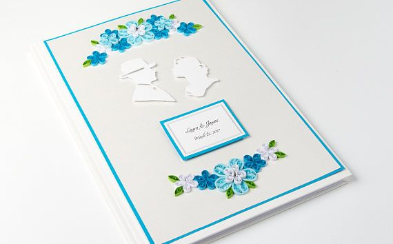 Unique Blue Wedding Guest Book Quilling Personalized Handmade Wedding Sign In Book Custom Anniversary Guestbook Wedding Scrapbook Etsy by PaperParadisePL