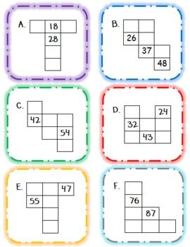 Number Grid Puzzles Math Center - Teach Forward - TeachersPayTeachers.com
